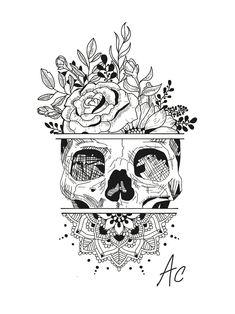 Create a Tattoo Idea … Skull … Flowers … Mandala insta: amylquise_drawings … - Tattoos Unique Tattoos, Cute Tattoos, Tatoos, Mandala Tattoo Design, Mandala Drawing, Mandala Sketch, Mandala Thigh Tattoo, Tattoo Thigh, Tattoo Crane
