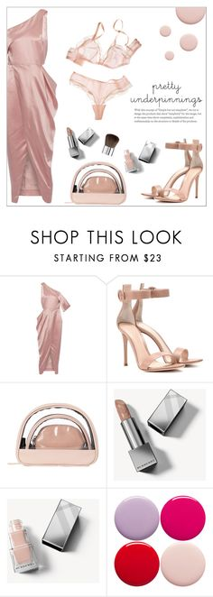 """""""The Prettiest Underpinnings"""" by amchavesj-1 ❤ liked on Polyvore featuring Michelle Mason, Gianvito Rossi, Therapy, Burberry, Nails Inc., Sephora Collection and prettyunderpinnings"""