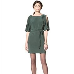 {Jessica Simpson} Split Sleeve Dress Jessica Simpson dark green open sleeve dress with tie belt. Perfect for the holidays! NWT! Don't hesitate to ask any questions. *colors may vary slightly from photos* Jessica Simpson Dresses