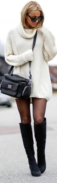 A sweater dress is a good option for when you're traveling in the winter and want to still look stylish, and this one looks super cozy. Pair it with thick tights and knee-high boots for great travel style.
