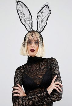 Rabbit ears used to be cutesy Easter territory, but no more. This part pretty (hello lace), part gothic headband is 'Donnie Darko' meets 'Beetlejuice' – and we're so. damn. into. it