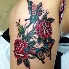 Butterfly Roses Tattoo  - http://tattootodesign.com/butterfly-roses-tattoo/  |  #Tattoo, #Tattooed, #Tattoos