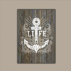 Living Life as a sailor: anchor nautical illustration,DIGITAL FILE, wall decor posters digitale,nautical printable,digital art di PrintWithLove11 su Etsy