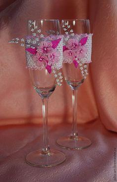 """Купить Свадебные бокалы """"Розовая мечта"""" - свадьба, свадебные аксессуары, свадебные бокалы, цветочная композиция"""