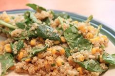Quinoa with corn, spinach and pine nuts