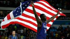 #ColinKaepernick RIO DE JANEIRO, BRAZIL - AUGUST 21:  Draymond Green #14 of United States celebrates after defeating Serbia during the Men's Gold medal game on Day 16 of the Rio 2016 Olympic Games at Carioca Arena 1 on August 21(Photo by Elsa/Getty Images)