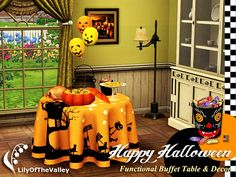 Decorate your home for Halloween and enjoy a delicious dinner buffet! The set includes a round functional buffet table and some decorative items for Halloween. The buffet table has several slots...