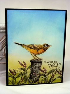 IC361 Art Bird on Post by BeckyTE - Cards and Paper Crafts at Splitcoaststampers