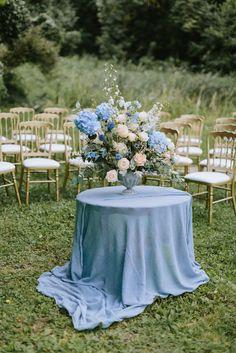 Blue Wedding Flowers Outdoor Ceremony Floral Arrangement - Pastel Blue Outdoor Wedding in Germany Planned Outdoor Wedding Decorations, Wedding Themes, Wedding Colors, Wedding Flowers, Wedding Ideas, Trendy Wedding, Summer Wedding, Wedding Reception, Wedding Aisles