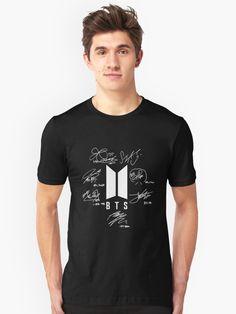 BTS - LOGO with signatures   Unisex T-shirt   BTS MERCH // #fashion #tumblr #tshirt #quotes #shopping #shop #sell #Merch #kpop #kpopmerch #bts #dna #bangtanboys #jungkook #namjoon #rapmonster #jin #suga #jimin #jhope #army #loveyourself