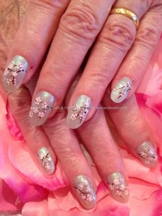 Cherry blossom freehand nail art But background color a darker color