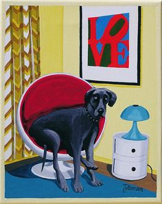 MOD DANE  Great Dane in a 1960s mod room. Mid Century modern living.  This is a limited edition (200 prints) print by Linda Tillman. It is a print of an original gouache painting. Prints are all printed on archival matte paper. They are printed with a Canon iX6500 printer. It has a border. The edges of the composition fade softly into white as they do on the original painting. The print will fit a standard pre-cut matte for easy framing.  The size is 8 x 10 inches  Each print is titled…