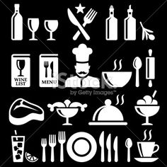 Fine dining and Restaurant knockout royalty free vector icon set Royalty Free Stock Vector Art Illustration Vector Icons, Vector Art, Food Icons, Wine List, Icon Set, Fine Dining, Royalty, Restaurant, Illustrations