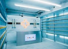 Fast-food lovers in Tokyo can follow up their guilty pleasures with vitamin supplements, supplied by this laboratory-like pop-up shop
