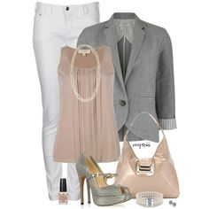 Although the blazer may look like a work outfit, worn open, without the purse and flats of a similar color, this can be worn by a teenager/young adult going to semi casual dinner with the fam Neue Outfits, Komplette Outfits, Dressy Outfits, Summer Outfits, Work Outfits, Dressy Pants, Outfit Work, Fashion Outfits, Summer Dresses