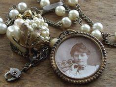 Vintage Assemblage Necklace  Jane-Not So Plain. $63.00, via Etsy.