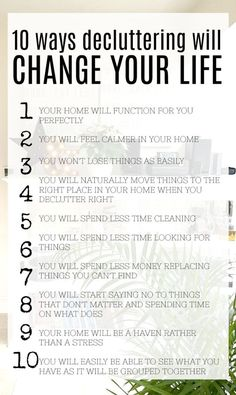 How decluttering will change your life - list of benefits of decluttering Change your life starting today, by decluttering. Clutter affects every part of your life - so get started right now - declutter and create space for you. Benefits of decluttering. Declutter Home, Declutter Your Life, Declutter Bedroom, Clutter Control, Clutter Free Home, Life List, Tips & Tricks, Minimalist Lifestyle, Konmari