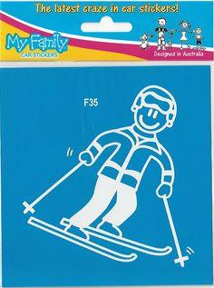 Leuke wintersport sticker van vader. Kijk bij de andere wintersport sticker om heel je gezin in stickers samen te stellen. Prijs € 2,49 Family Car Stickers, F35, Sticker Design, My Family, Poster, Seeds, Families, Posters, Movie Posters
