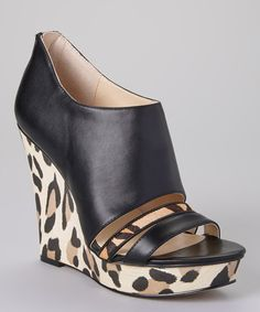 Take a look at the Calvin Klein Black Leopard Calf Hair & Leather Danette Wedge on #zulily today!