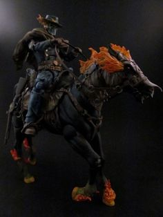 """[Western Ghost Rider & Hell Horse]  """"...Their hot breath he could feel.. A bolt of fear went through him as they thundered through the sky...For he saw the riders coming hard and he heard their mournful cry..""""   Western Ghost Rider! I wanted to do a take on the Western Ghost Rider that was a little different than the usual """"Flaming hat and duster"""" variety that we've seen over and over. I took a ROML Drax body, gave it some DCUC Jonah Hex arms, sculpted a 'bib front' shirt on him and painted…"""