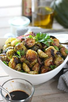 Easy Balasami Roasted Brussels Sprouts are so tasty they will make you forge your eating your veggies! Super simple to prepare!