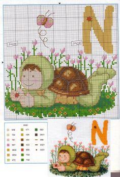 Labores de Ana Cross Stitch Alphabet, Cross Stitch Patterns, Baby Animals, Animal Babies, Cross Stitching, Sewing, Toddler Girls, Punto De Cruz, Organize