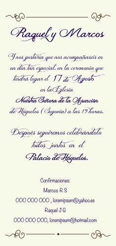 Invitación de boda campestres #wedding @palaciodehoyuelos