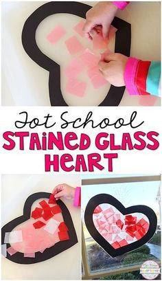 Stained glass art is my favorite! This Valentine heart is perfect for tot school, preschool, or the kindergarten classroom. #daycareideas