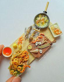 Valentina Gaia Manzo - PinkCute Sugar Miniatures: Miniature food July-Luglio1:12 scale : fried fish scene - Pesce fritto