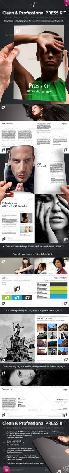 Press-Kit Style Brochure Design  #GraphicRiver         I've called this Indesign pack a Press Kit, but it could be a Brochure or Media Kit or whatever. It's dead simple to change and make your own. Let me explain what's in the kit:  	 Clean & Professional Press Kit / Brochure / Magazine / Media Kit  	 I called it a PressKit because I threw in a couple of layouts for Logo usage and colour palettes, but this Indesign Brochure /