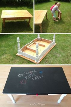 DIY Chalkboard Kid's Table -- Cute idea for a college apartment! Let your friends draw on the table :) black Chalkboard paint! DIY Chalkboard Kid's Table -- Cute idea for a college apartment! Let your friends draw on the table :) black Chalkboard paint! Black Chalkboard Paint, Chalkboard Table, Chalkboard For Kids, Drawings Of Friends, Ideias Diy, Kid Table, Kids Play Table, Couch Table, Lego Table