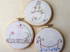 Embroidery PDF Pattern  Bunny Trio Three Woodland  Bunny