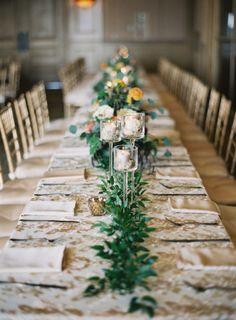 Gorgeous gilded wedding table: http://www.stylemepretty.com/2015/01/30/naturally-elegant-midwestern-wedding/ | Photography: Brett Heidebrecht - http://brettheidebrecht.com/