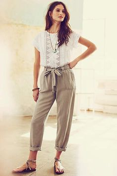 Linen Paperbag Trousers - anthropologie.com