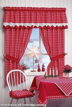 How to Shop For Kitchen Curtains - Life ideas – Page 3 of 40 – - Red Kitchen Curtains, Kitchen Blinds, Diy Kitchen, Kitchen Storage, Cortinas Country, Kitchen Curtain Designs, Rideaux Design, Red And White Kitchen, Curtain Styles