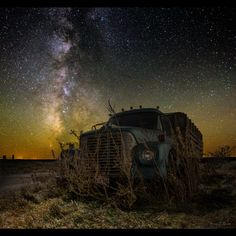 """International Harvester by Aaron J. Groen on 500px   """"International Harvester"""" ---- Milky Way stars shines bright over this Old International Harvester dump truck. 25 second high ISO exposure to capture the stars and light painted foreground.  www.facebook.com/HomeGroenPhotography"""