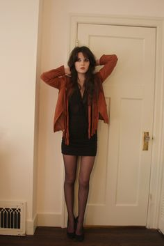 Fringe Jacket C/O SheIn | Top from Suzy Shier | Mini Skirt from Forever 21 | Secret Tights | Steve Madden Pumps