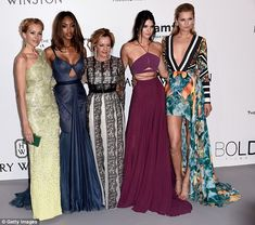 Model behaviour: Kendall joins (L-R) Petra Nemcova, Jourdan Dunn, Caroline Scheufele of Chopard and Toni Garrn