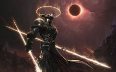 warrior, Artwork, Digital Art, Cyborg, Solar Eclipse, Demon, Angel, Apocalyptic, Knights, Peter Zhou, Fantasy Art, Warflame HD Wallpaper Desktop Background