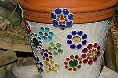 Mosaic Flower Pot made from stained glass and glass beads