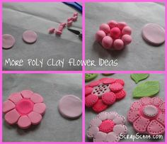 How to make flower embellishments out of polymer clay.