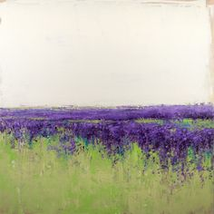 30x30 inches READY TO HANG  Lavender Field is a landscape based abstract painting created with palette knives and non traditional tools. These modern original paintings are great as color accent...