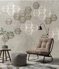 Concrete Hexagon Wallpaper for Home and Business Interiors