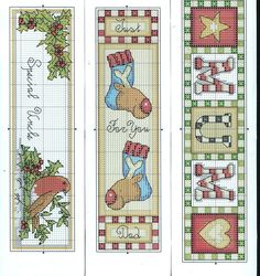 Cross-stitch Chistmas bookmarks.. no color chart, just use pattern chart colors as your guide.. or choose your own colors.