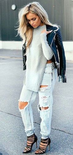 #fall #fashion / ripped denim + knit