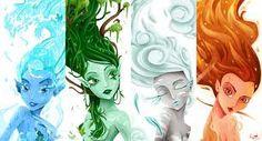 The Four Element Fairys Classical Elements, Elements Of Nature, Elements Of Art, Magia Elemental, Elemental Magic, Fire Fairy, Water Fairy, Element Symbols, Fantasy Creatures