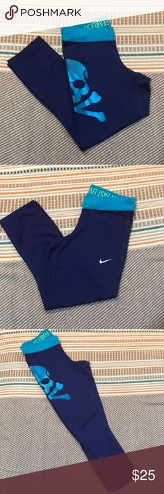 ****PRICE DROP****Nike SoulCycle Leggings Cropped Nike leggings by SoulCycle. Dark blue with light blue details. soulcycle Pants