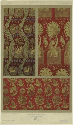 [Textiles with animal patterns, 13th century.]