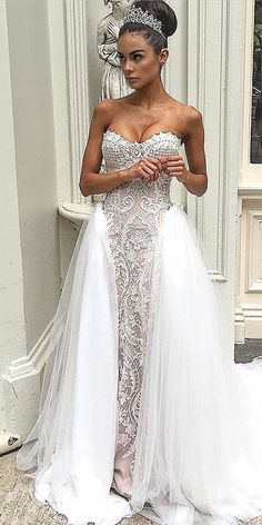 24 Strapless Sweetheart Neckline Wedding Dresses From TOP Designers ❤ See more: http://www.weddingforward.com/strapless-sweetheart-neckline-wedding-dresses/ #wedding #dresses