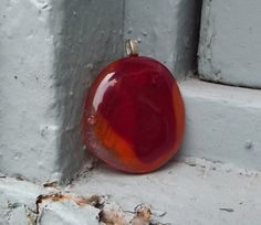 Orange and Red Glass Pendant/ Boho Pendant/ by FancyThatFusion